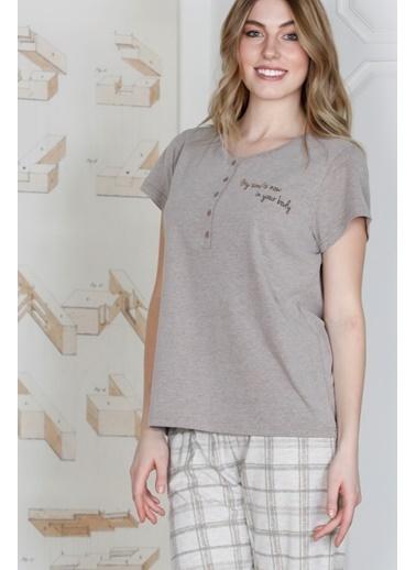 Hays Kadın Ekose Desenli Penye Kapri Pijama Takımı Kahve